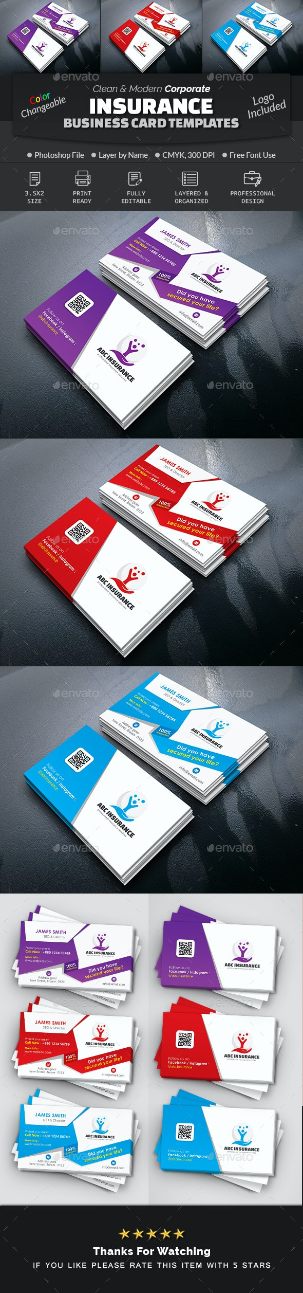 Corporate Insurance Business Card - Corporate Business Cards