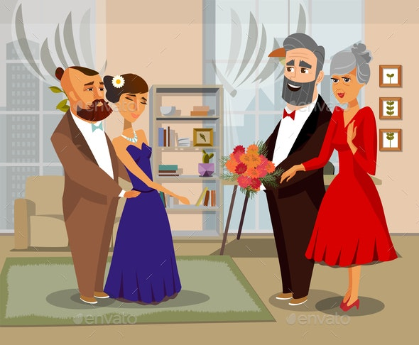 Bride, Groom with Parents Vector Illustration - People Characters