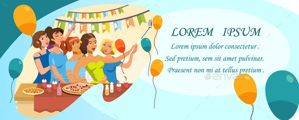 Birthday Party Invitation Template with Copyspace - Food Objects