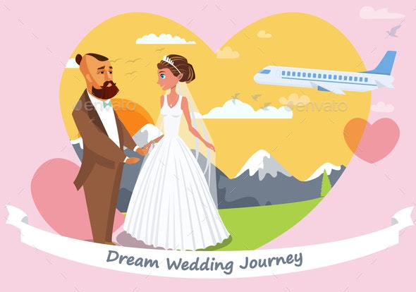 Honeymoon Vector Poster Layout with Lettering - People Characters