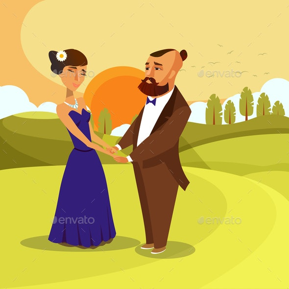 Dating, Honeymoon Romantic Vector Poster Concept - People Characters