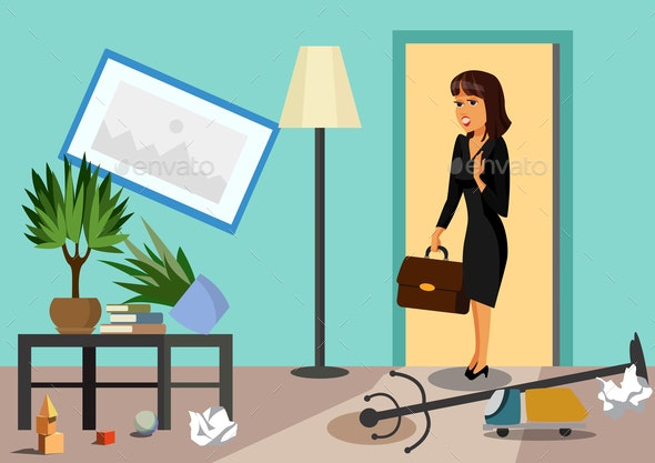 Businesswoman at Home Flat Vector Illustration - Business Conceptual