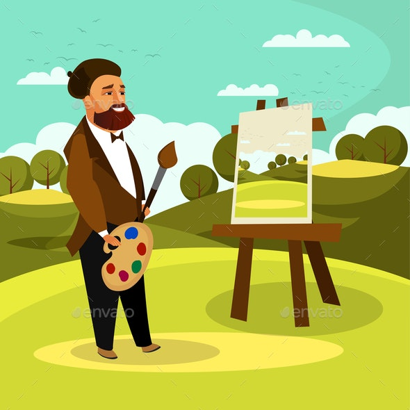 Artist Painting Landscape Flat Vector Illustration - People Characters