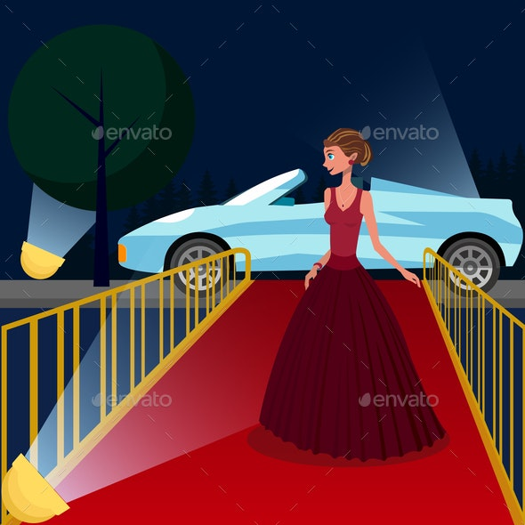 Young Woman at VIP Event Cartoon Illustration - People Characters