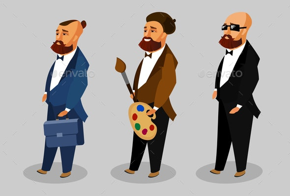 Cool Men Cartoon Vector Characters Collection - People Characters