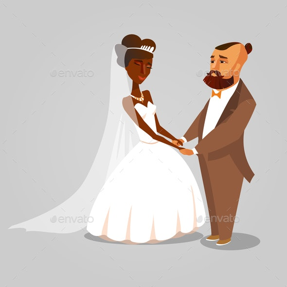 Bride and Groom, Newlyweds Cartoon Illustration - People Characters