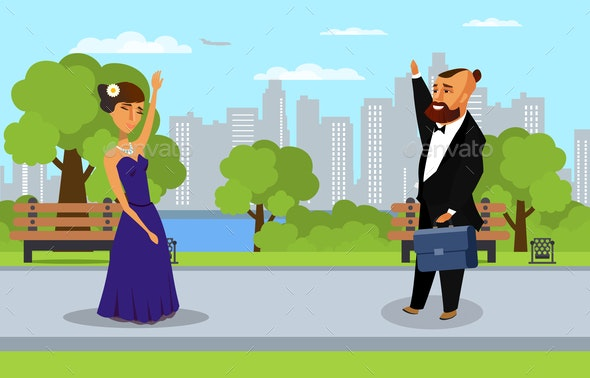 Man and Woman in Park Flat Vector Illustration - People Characters