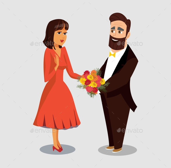 Husband Giving Flowers to Wife Vector Drawing - Seasons/Holidays Conceptual