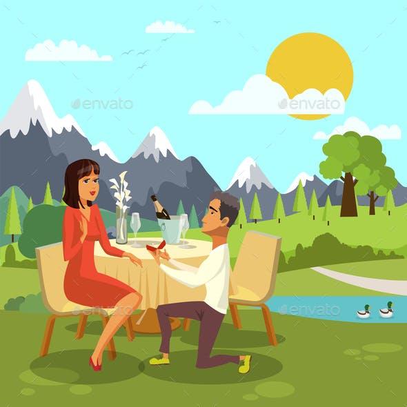 Romantic Marriage Proposal Cartoon Illustration