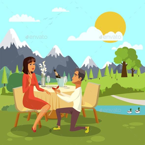 Romantic Marriage Proposal Cartoon Illustration - Seasons/Holidays Conceptual