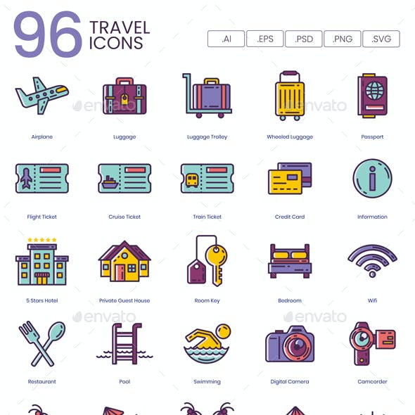 96 Travel Icons and Vacation Icons