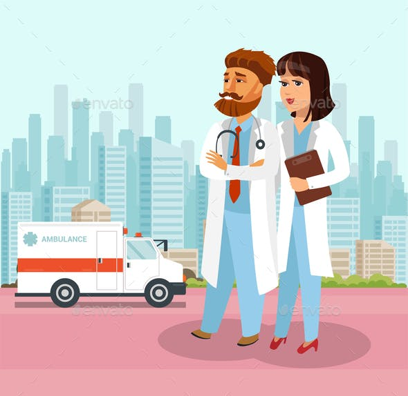 Confident Doctors at Hospital Flat Illustration