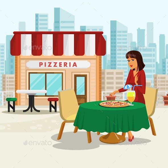 Woman having Lunch Break at Pizzeria Illustration