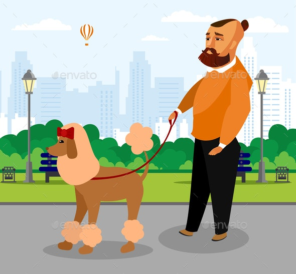 Man with Groomed Poodle in Park Flat Illustration - People Characters