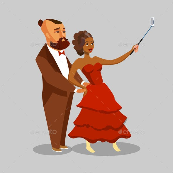 Happy Couple taking Selfie Vector Illustration