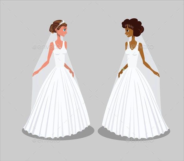 Brides in Wedding Dresses Vector Illustration