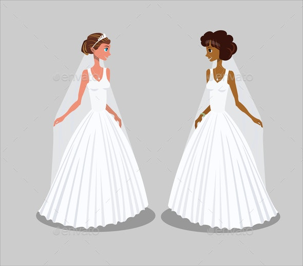 Brides in Wedding Dresses Vector Illustration - Seasons/Holidays Conceptual
