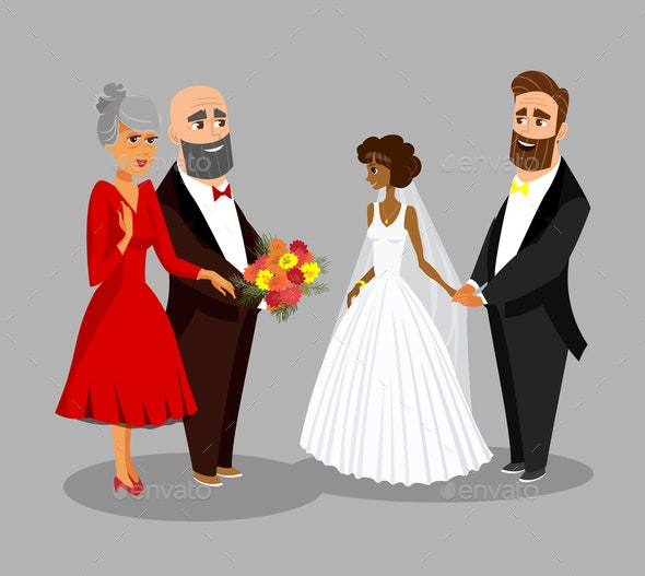 Bride, Groom with Parents Vector Design Element - People Characters