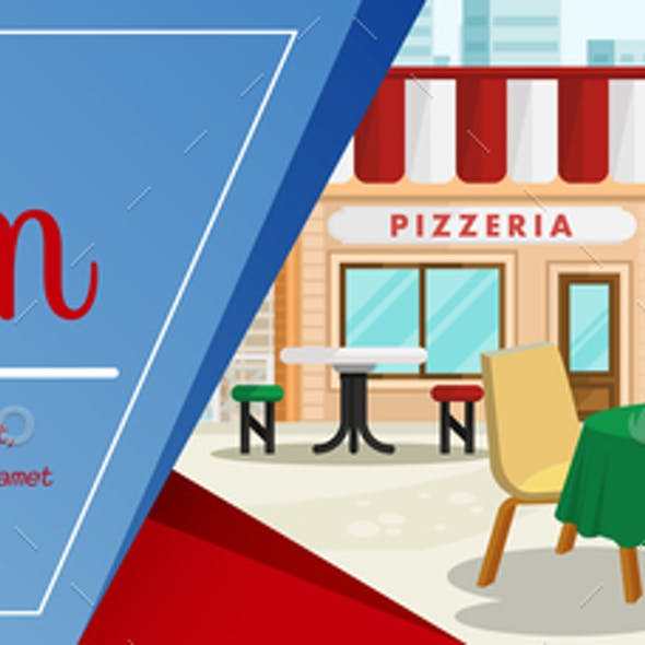 Woman having Lunch at Pizzeria Color Illustration