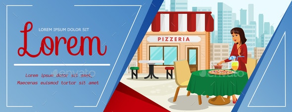 Woman having Lunch at Pizzeria Color Illustration - People Characters