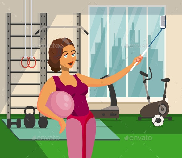 Girl taking Selfie in Fitness Center Flat Drawing - People Characters