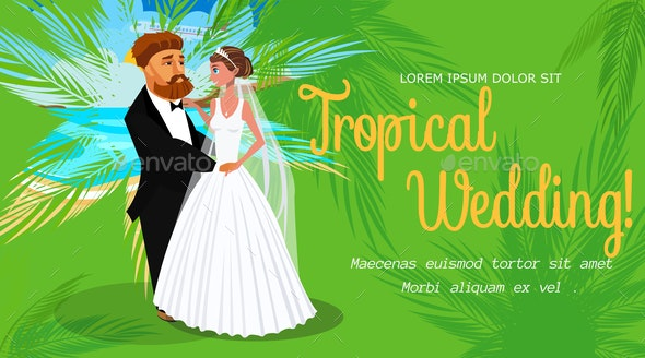 Tropical Wedding Invitation Layout with Text Space - People Characters