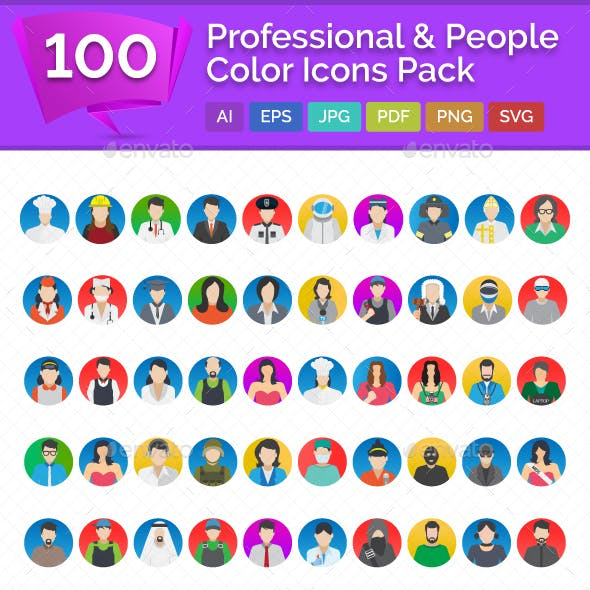 100 Professional And People Color Vector Icons Pack