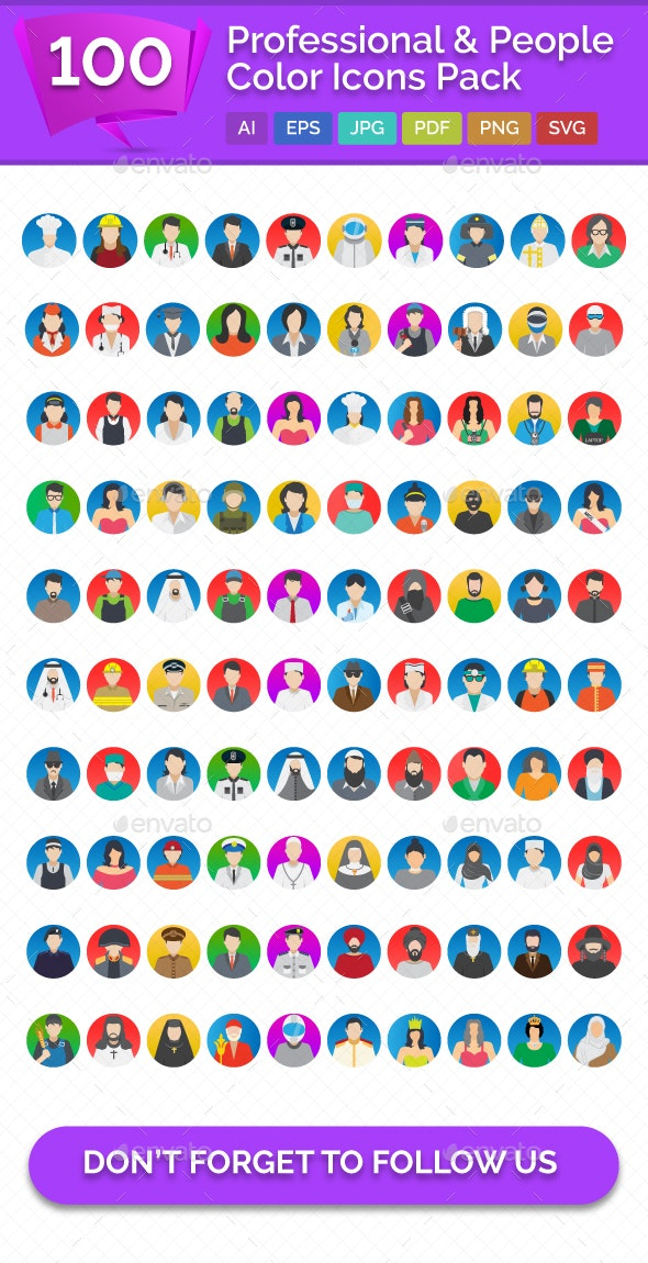 100 Professional And People Color Vector Icons Pack - Icons