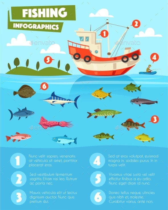 Fishing Sport and Industry Infographic Design - Sports/Activity Conceptual