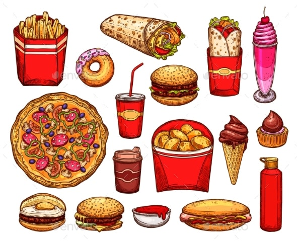 Fast Food Lunch with Sandwich, Drink and Dessert - Food Objects