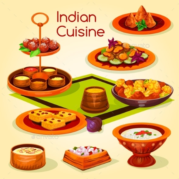 Indian Cuisine Lunch with Dessert Cartoon Icon - Food Objects