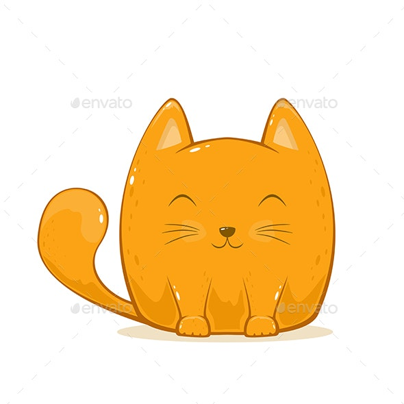 Cat on White Background - Animals Characters