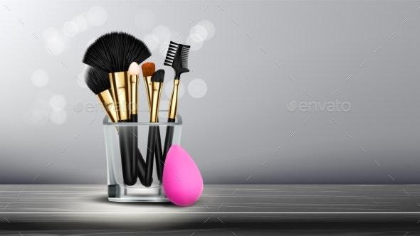 Makeup Brush Banner Vector Cosmetic Background - Miscellaneous Vectors