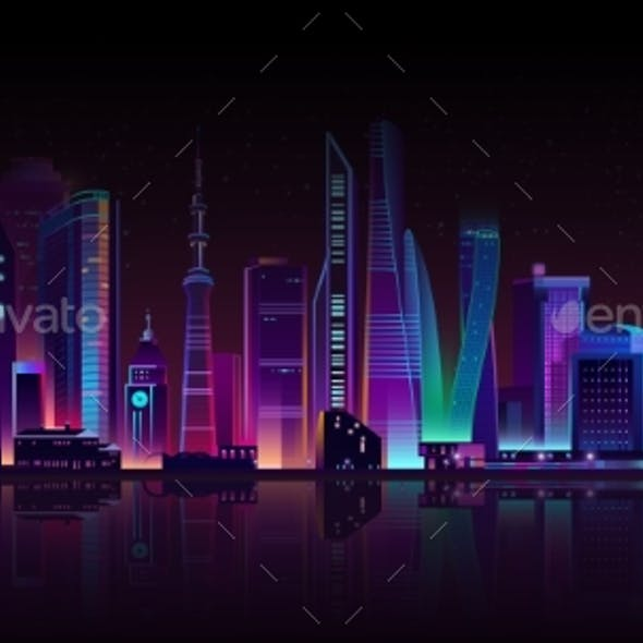 Vector Modern Megapolis on River at Night.