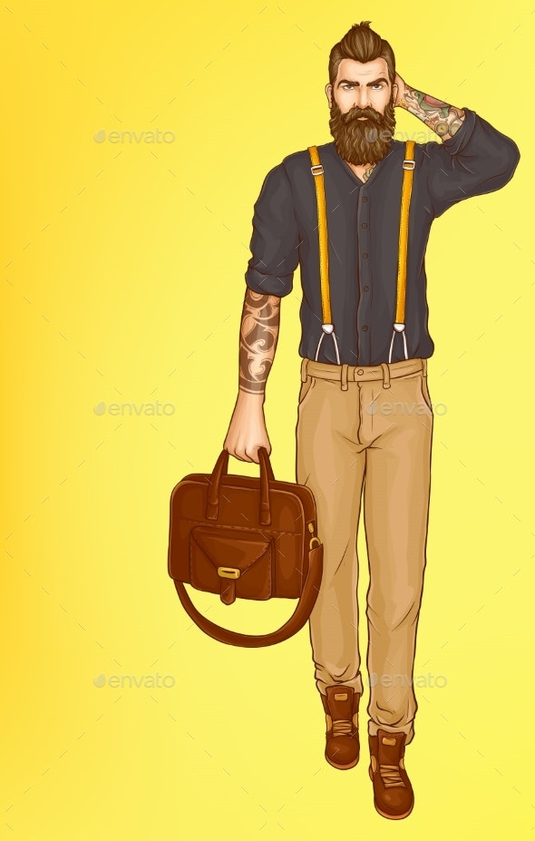 Walking Stylish Hipster Man Pop Art Vector - People Characters