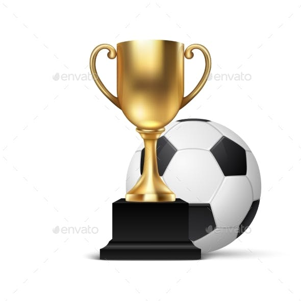 Realistic Vector Blank Golden Champion Cup Icon with Ball