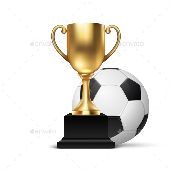 Realistic Vector Blank Golden Champion Cup Icon with Ball - Sports/Activity Conceptual