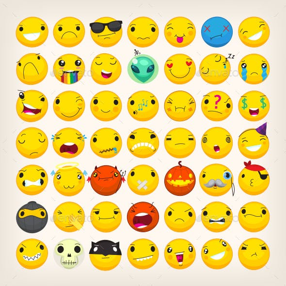 Collection of Yellow Face Emoticons and Emoji Icons