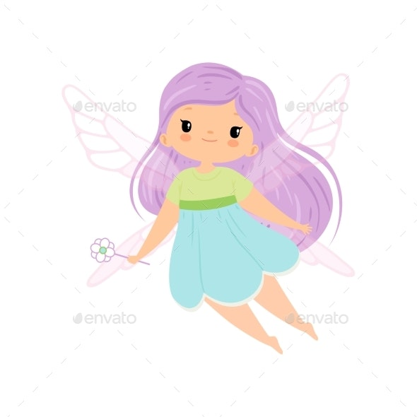 Winged Fairy with Long Lilac Hair - People Characters