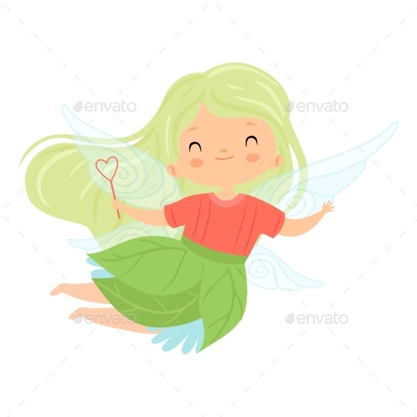 Winged Fairy with Green Long Hair - People Characters