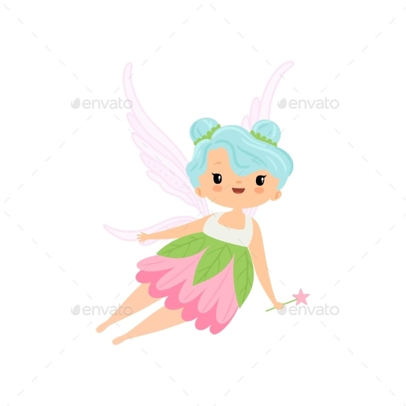 Winged Fairy Flying with Magic Wand - People Characters