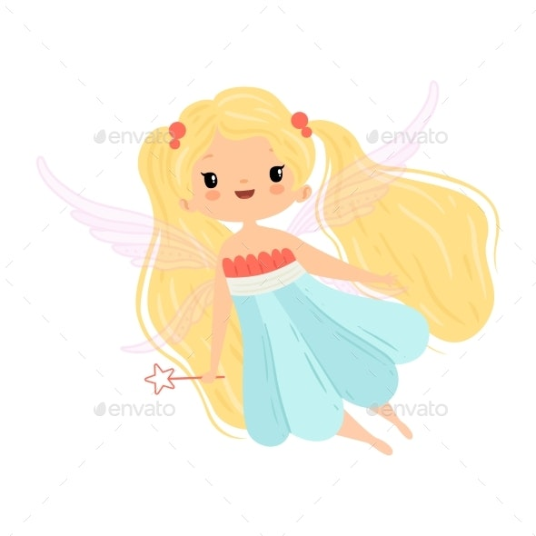 Winged Fairy with Blonde Long Hair - People Characters