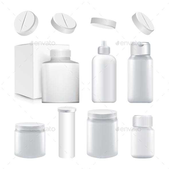Medical Container Set Vector