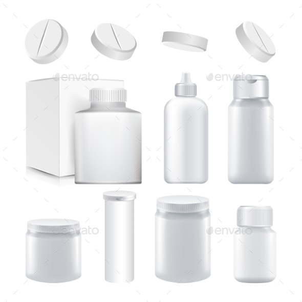 Medical Container Set Vector - Health/Medicine Conceptual