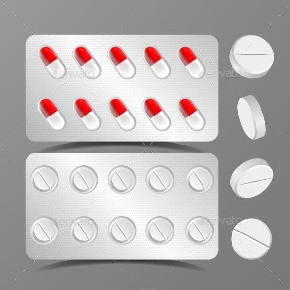 Pillows Set Vector Medical Capsule Pharmacy - Health/Medicine Conceptual
