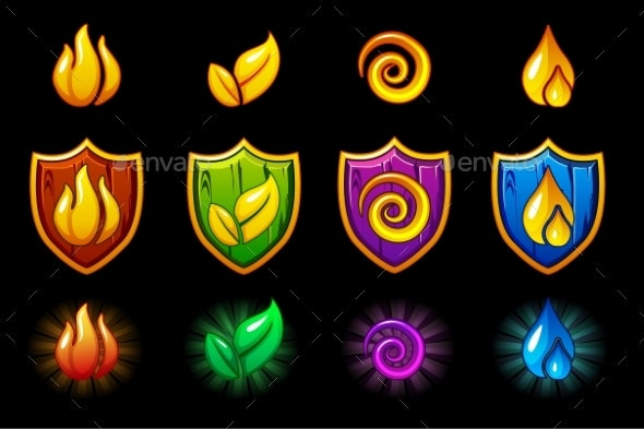 Four Elements Nature Icons Wooden Shield Set - Miscellaneous Game Assets