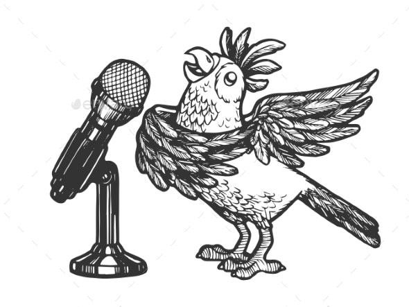 Cartoon Singing Parrot Sketch Engraving Vector - Miscellaneous Vectors