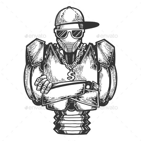 Cyborg Robot Rapper Sketch Engraving Vector - Technology Conceptual