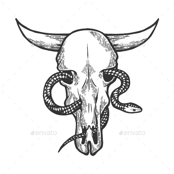 Snake in Cow Skull Sketch Engraving Vector - People Characters