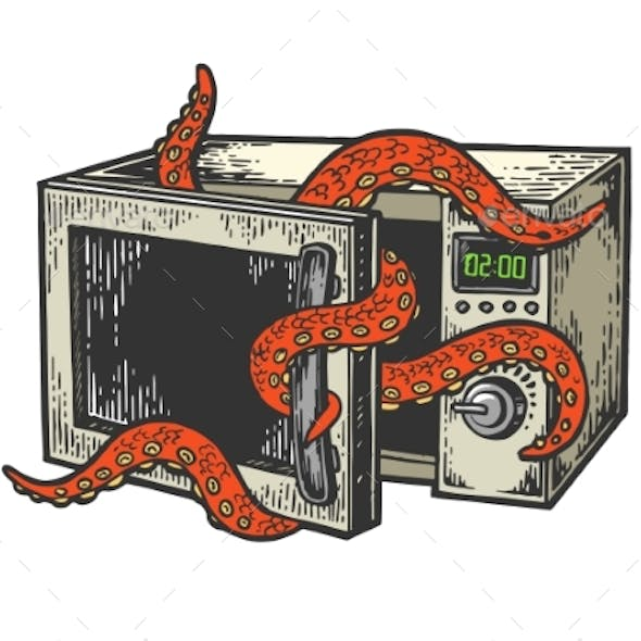 Octopus in Microwave Oven Color Sketch Engraving